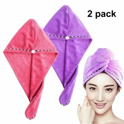 2x Magic Microfiber Hair Wrap Towel Hat Turban Quick Drying Dry Cap Hat Bath Spa