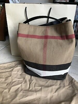 3761a800c850 BURBERRY CANVAS CHECK Medium Tottenham Saddle Brown Tote -  425.00 ...