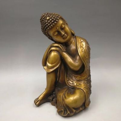 "10.6"" Chinese Old brass hand-made carved sleeping Buddha statue Decoration YR"