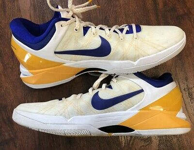 huge selection of b485c 2a553 Nike Zoom Kobe 7 VII Lakers White Yellow Purple System Concord 488371-101  Men 14