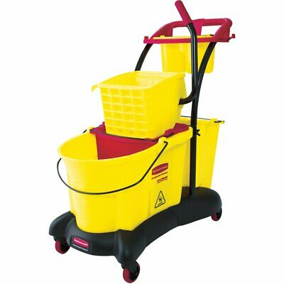 Rubbermaid Commercial FG778000YEL WaveBrake Side Press Mopping Trolley, 8.75-Gal