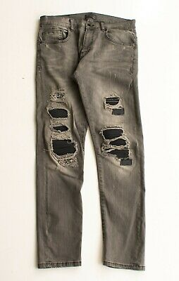 1210f31d ZARA MAN GRAY Distressed Skinny Moto Denim Jeans Size 32 X 30 ...