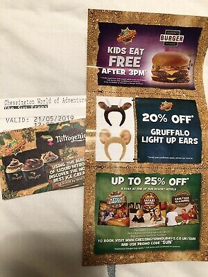chessington world of adventures tickets. 2x Tickets  For 21/5/2019