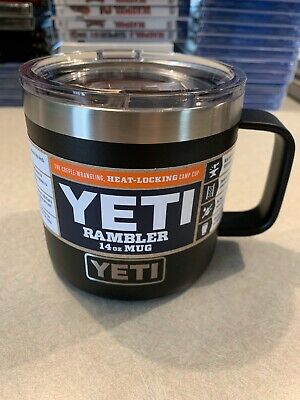 New YETI Rambler 14 oz Stainless Steel Vacuum Insulated Mug with Lid-Black