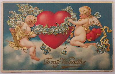 Valentines Day Cupids and Large Heart MAB Antique Postcard Early 1900's A1