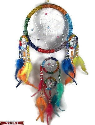 """6.5"""" Multi-Color Beaded Dream Catcher With Feathers Wall Hanging Decoration #07"""