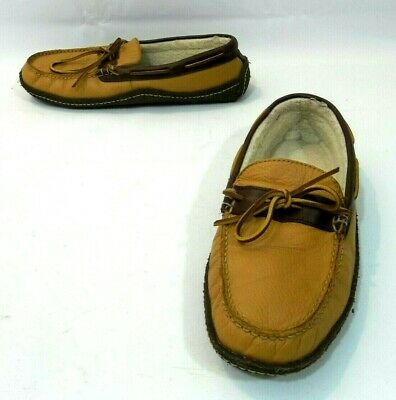 01a01f30baf1 L.L. Bean Brown Tan Mustard Leather Moccasin Slippers Shoes Men s Size 10 M