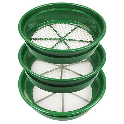 3 pc Green Plastic Gold Sifting Pan Classifier Stackable Mesh Size