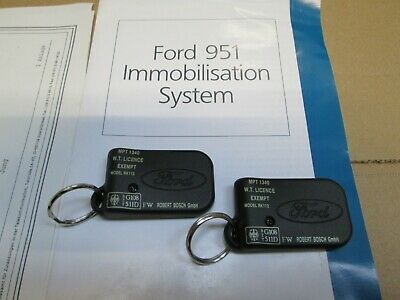Ford Immobiliser Key Fobs  X 2   ( Genuine  Mtp 1340 ) Spare Fobs