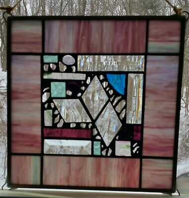 """Tiffany Style Stained & Beveled Clear Glass Sun Catcher Panel 10 1/4"""" X 10 1/4"""""""