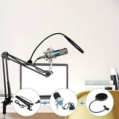Condenser Microphone Mic Studio Sound Recording & Boom Stand For PC Laptop CH