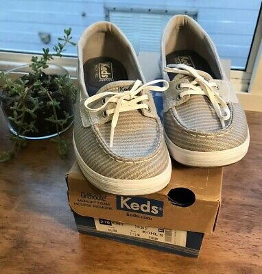 5ec134c8eb Keds Glimmer Lace Up Women Boat Shoes Metallic Silver SIZE 7.5 Ortholite W  Box