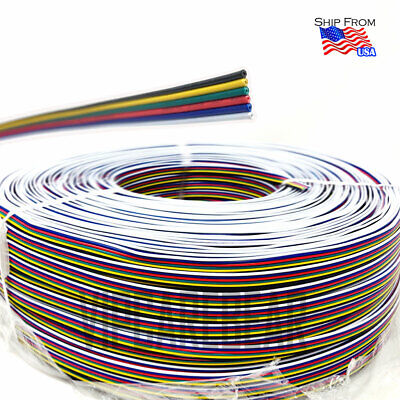 4ft-328ft RGB+CCT 5050 RGBWW LED Strip 6 Pin Extension Cable Wire Connector Cord