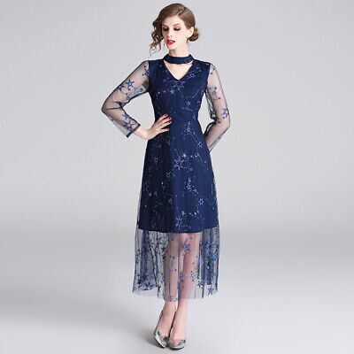 Women's Fashion Mesh Long Sleeve Sequins Swing Tunic Embroidery Lace Dress Size