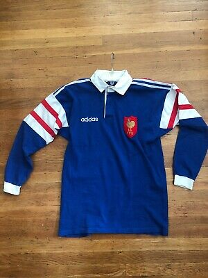 1d23a7fe8d7 Vintage 90s 1996 France FFR Rugby Union Jersey Shirt Cotton Medium Sz Rare