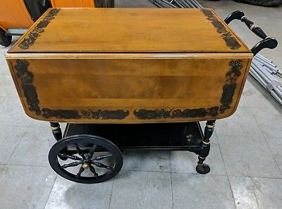 Antique Ethan Allen - Tea Cart - Hand Painted Details w/Spindle Wheels - NICE!