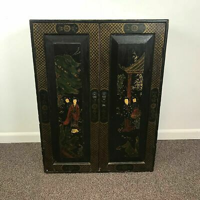 """Antique Chinese Lacquered Painted Cabinet 35"""" Tall"""