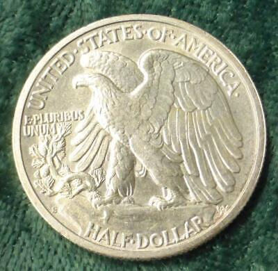 1942 S Liberty Walking Silver Half Dollar, Looks AU to Uncirculated, Silver Coin