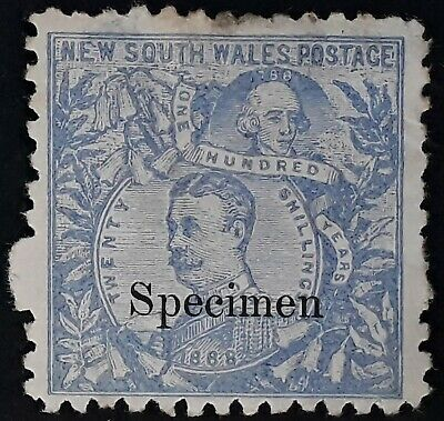 1890- NSW Australia 20/- Cobalt blue Lord Carrington Stamp Mint Specimen No Gum
