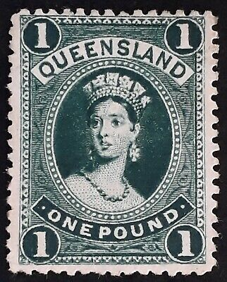 Rare 1886- Queensland Australia £1 deep green Large Chalon Head stamp Thick ppr