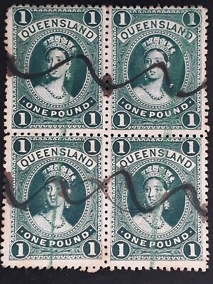 Rare 1886- Queensland Australia Blk 4x£1.00 Deep green Large Chalon Head stamps