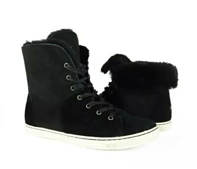 e5788405499 UGG OLIVE CHESTNUT Brown Suede Fur High Top Sneakers Womens Size 8 ...