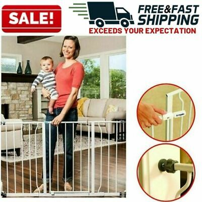 Baby Safety Gate Walk Through Easy Open Handle Extra Wide Pet Child Proof Metal