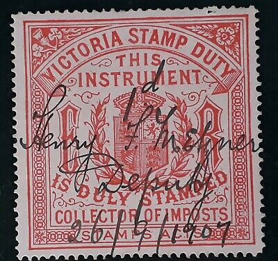 Rare c1905 Victoria Australia Carm on Pink Collector of Imposts stamp Duty Used