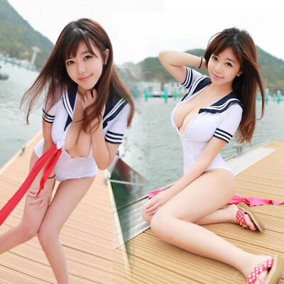 d39ca872f School Girl Costume Sexy Lingerie Set Cosplay Student Deep-V Uniform Suits  White