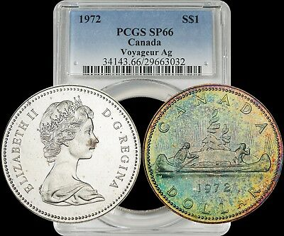1972 Canada Voyageur AG Silver Dollar PCGS SP66 Beautiful Luster Color Toned Gem