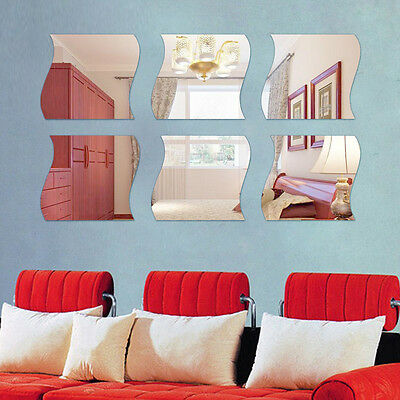 6Pcs Wave Removable Home Room Wall Mirror Sticker Art Vinyl Mural Decor Decal