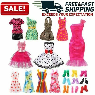 Barbie Doll Clothes Party Gown Outfits Shoes Accessories Dolls Girls Gift Toys