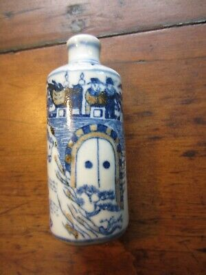 Antique Chinese Blue and White Porcelain Snuff Bottle signed Warriors