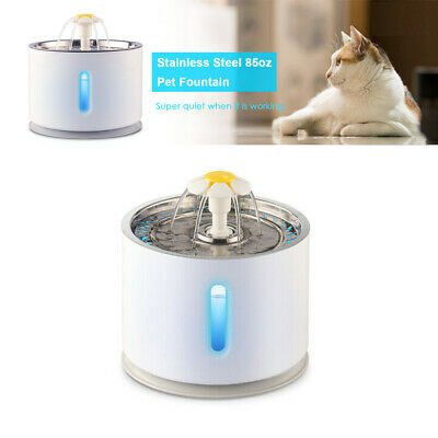 2.4L Stainless Steel Pet Water Fountain Visible Dispenser Dog Cat Drinking Pot