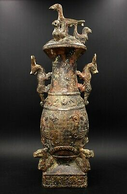 12'' gorgeous Chinese collection antique bronze ware emblazonry pot bottle
