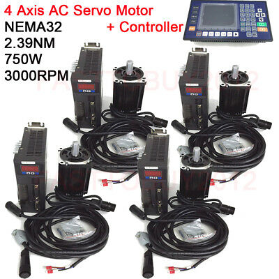 AC Servo Motor 4Axis 750W 2.39NM KIt NEMA32 +RS485 Servo Driver+3M Encoder Cable