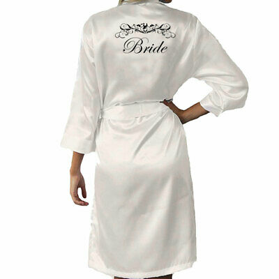 Personalised Bride Wedding Satin Robe Gown Bridesmaid Maid of Honor Mother AU