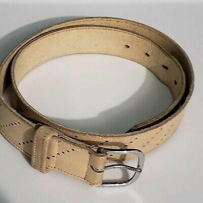 Vintage Boy Scouts Leather Belt NWA Code Pioneer 32 White Cowhide on Cowhide USA
