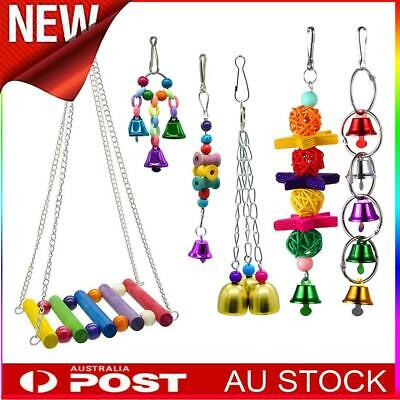6PCS Parrot Hanging Swing Bird Toy Harness Cage Toys Parakeet Cockatiel Budgie
