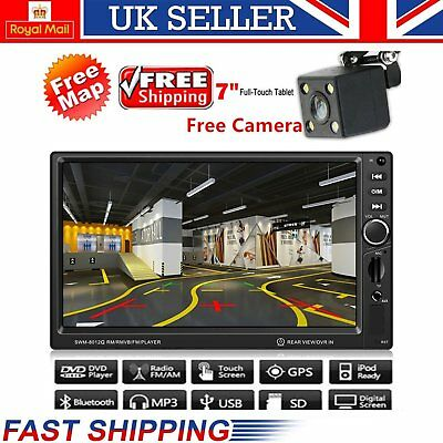 Backup Camera+GPS Double 2 Din Car Stereo Radio Player Bluetooth with Map ar