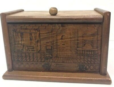 Vintage Wood Box Etching Recipe Index Card Office Supplies Trinket Cat Inn