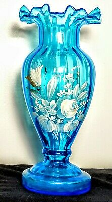 """Antique Handcrafted Vase Mouth Blown, Double Crimped, Hand Painted Flowers 10"""" H"""