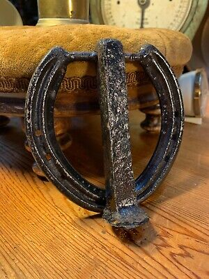 Antique Australian Blacksmith Made Horseshoe & Sleeper Bolt Door Knocker