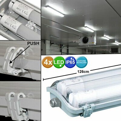 Set of 4 LED Ceiling Tubs Lights Damp Space Industrial Halls Tubes Lamps new