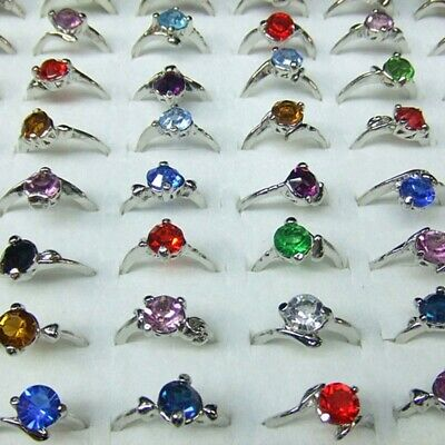 20Pcs Charm Wholesale Jewelry Bulk Mixed Silver Multicolor Crystal Finger Rings