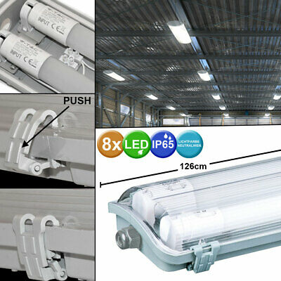 Set of 8 LED Tubes Tubes Lamps Humid Room Industrial Halls Ceiling Lights new