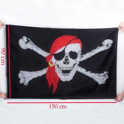bandiera pirata con bandana rosso bandierina dei pirati teschio decor 3 * 5ft