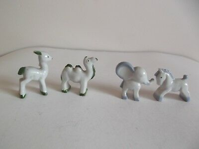 Vintage / Antique 4 Porcelain Animal Ornaments, Camel, Elephant, Horse, & Deer
