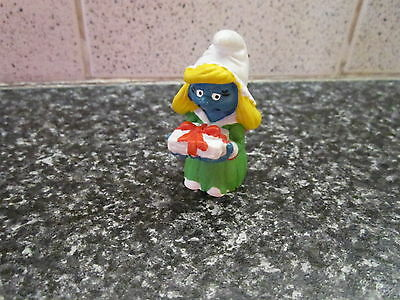 Smurfs Christmas Smurfette with Gown vintage (e)