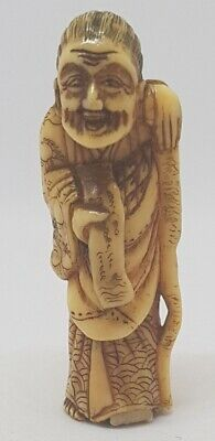 RARE ANTIQUE 18th CENTURY JAPANESE NETSUKE FINELY CARVED BOVINE FIGURE